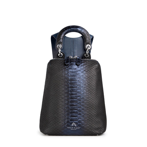 Snakeskin handbag: Mini Designer backpack in dark blue leather