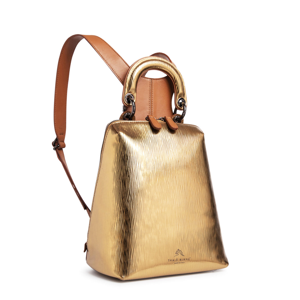 Women's designer backpack, mini, in metallic gold leather