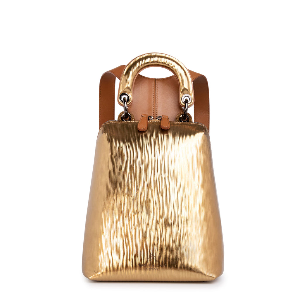 Metallic gold leather mini designer backpack for women