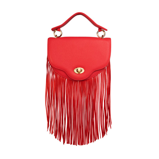 Designer crossbody bag: Chain handbag with fringe in red leather