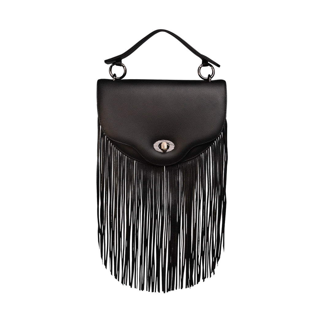 Luxury crossbody fringe handbag, black leather