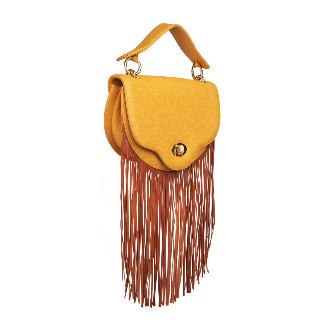Yellow designer handbag with fringe, leather