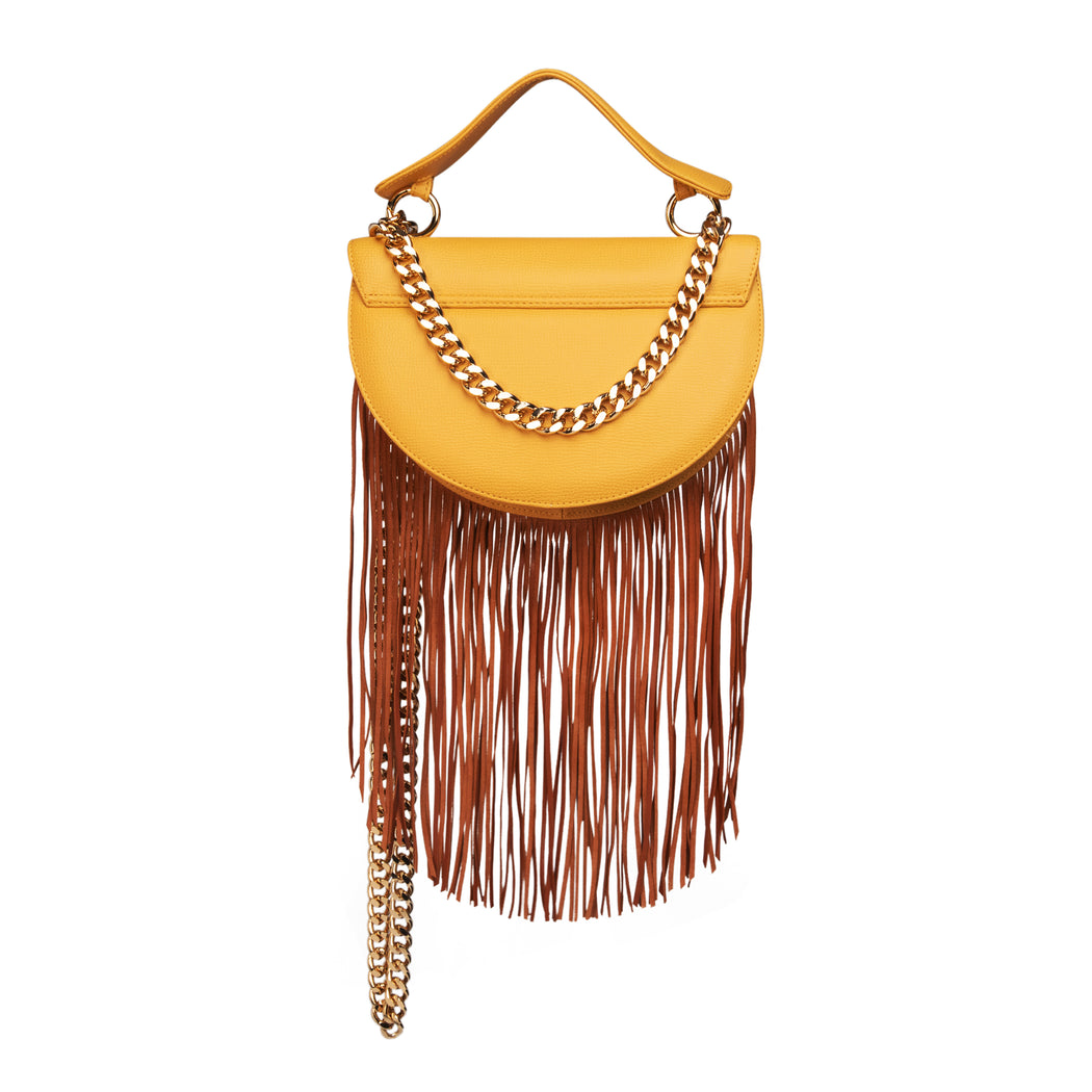 Fringe crossbody purse: Luxury crossbody bag in yellow leather