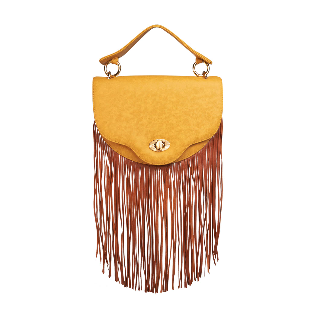 Fringe handbag in yellow leather: Women's designer crossbody bag, mini