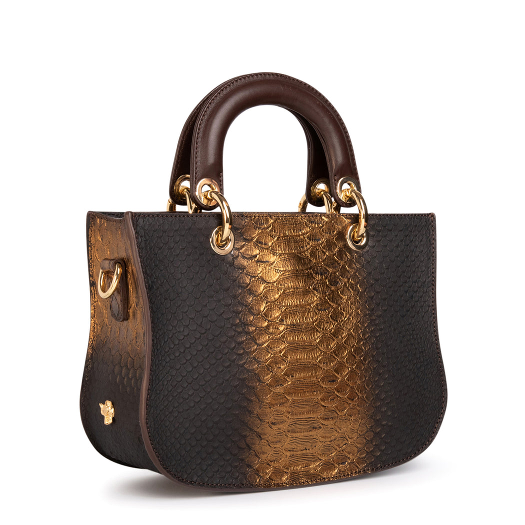 Designer handbag: Gold & brown python satchel bag