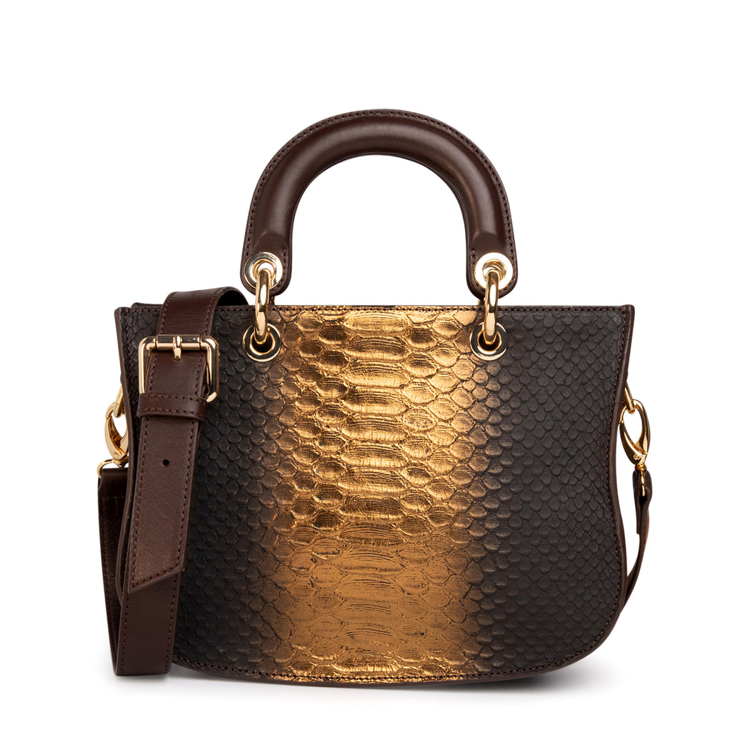 Designer satchel handbag in gold & brown snakeskin print