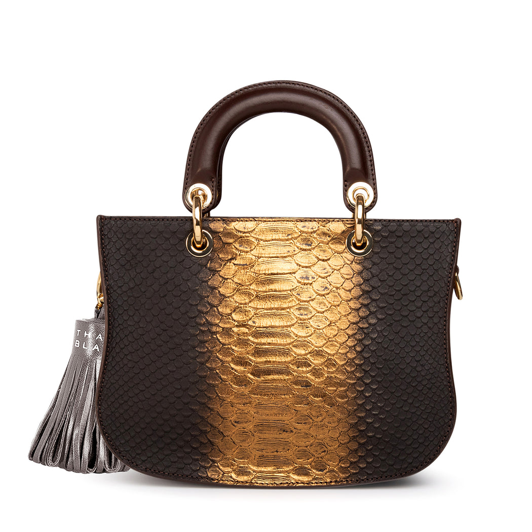 Designer crossbody bag: Gold & brown python satchel handbag