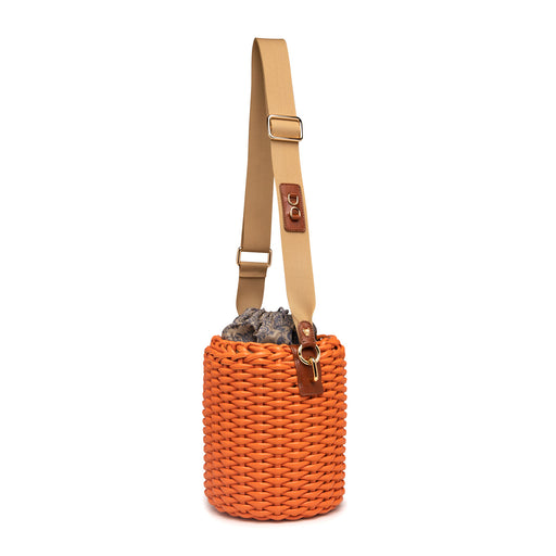 Designer vegan bags: Basket purse with grosgrain strap & vegan leather trim
