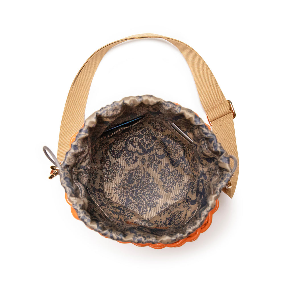 Luxury handbag: Interior of a basket weave purse