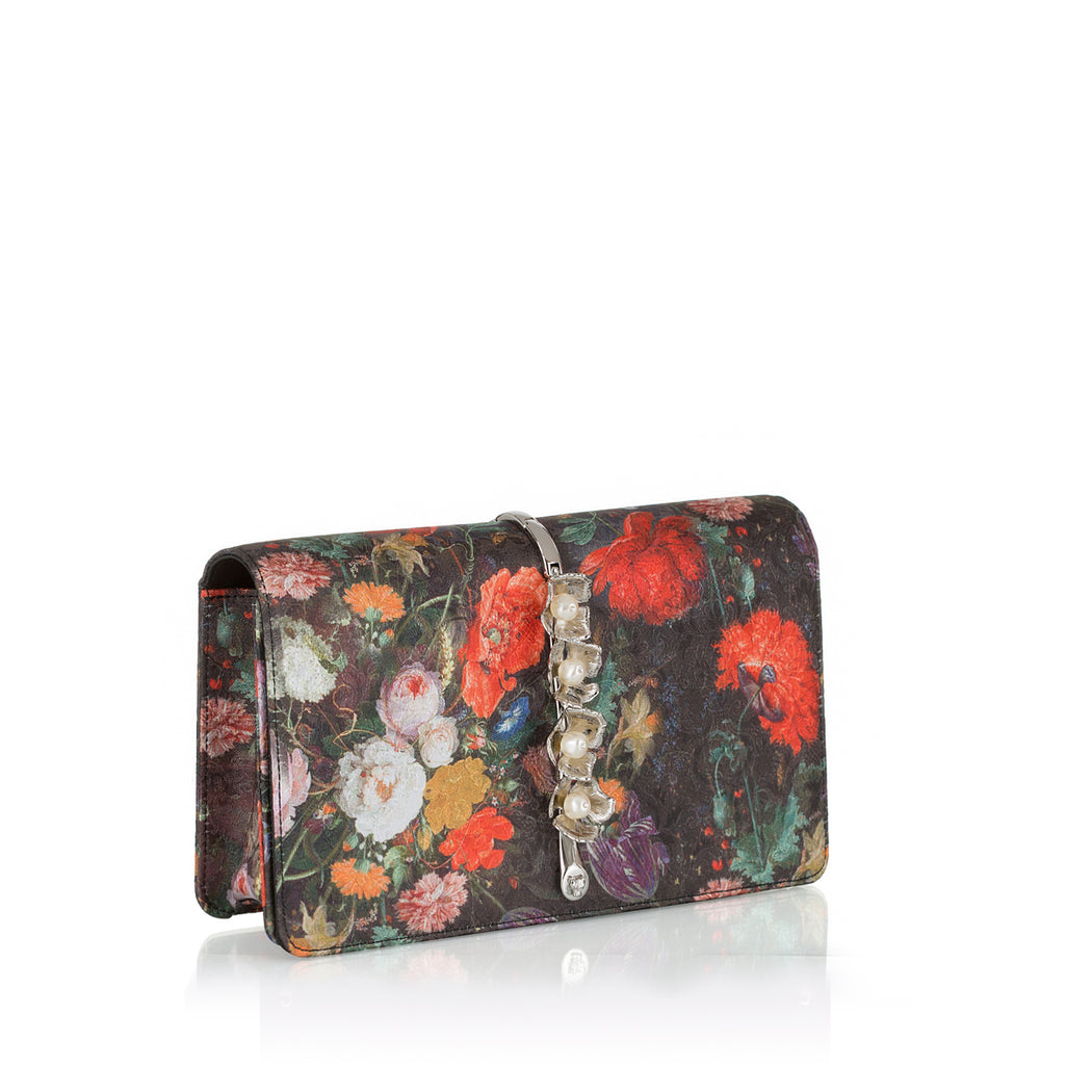 Evening purse in floral print silk jacquard