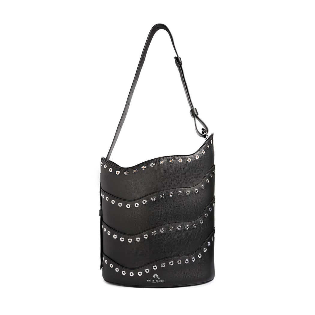 Women's designer handbag: Black bucket purse, leather