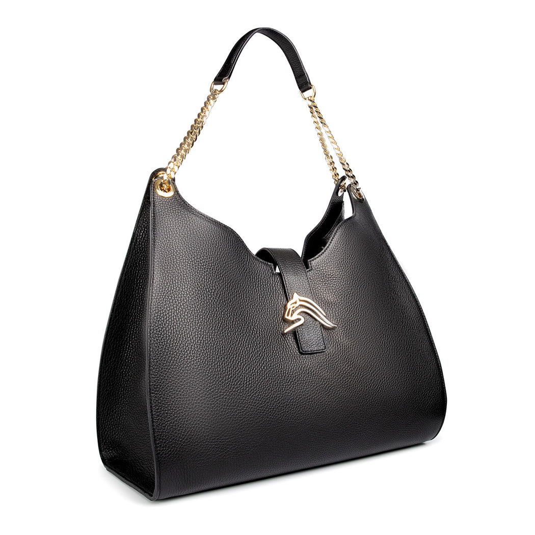 Designer handbag: Hobo shoulder bag in black leather