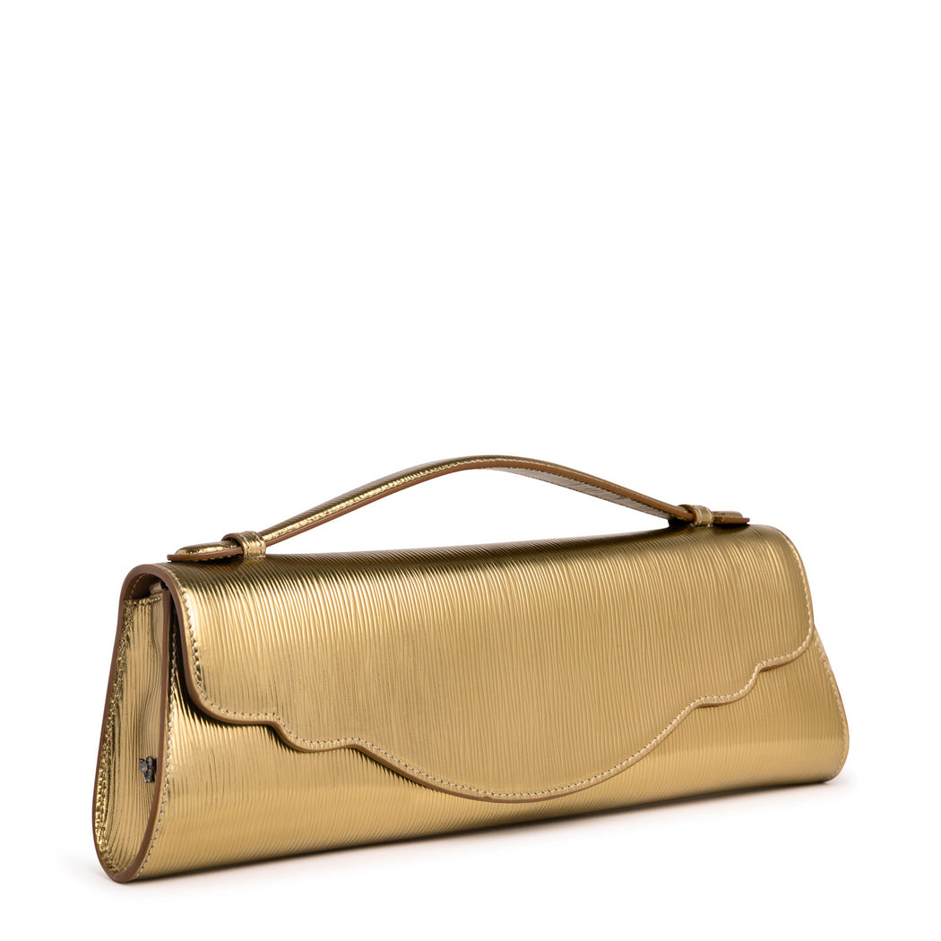 Gold designer clutch: Embossed leather purse