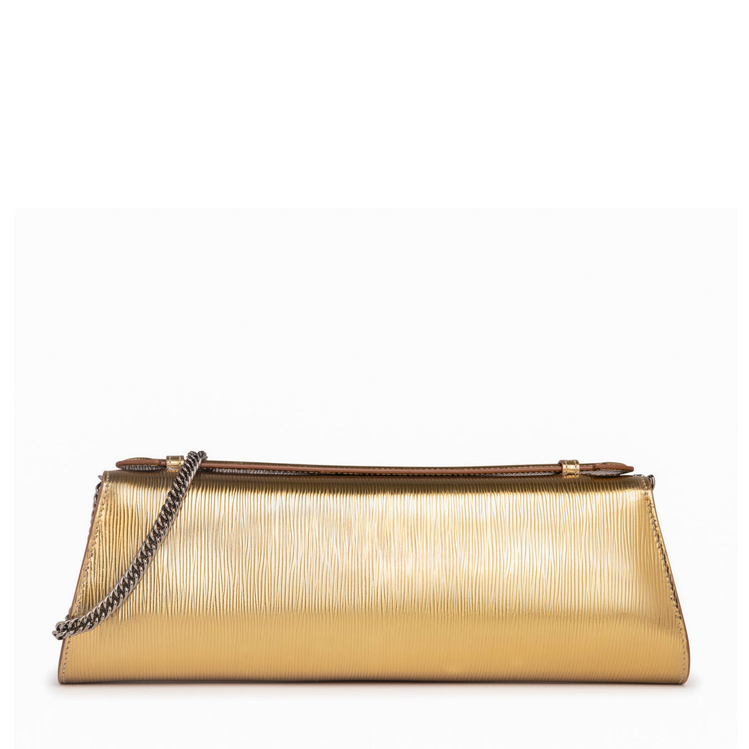 Designer evening clutch bag in gold embossed leather