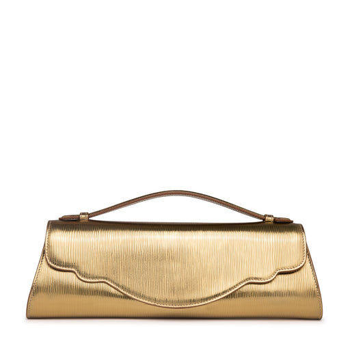 Designer clutch: Metallic gold handbag