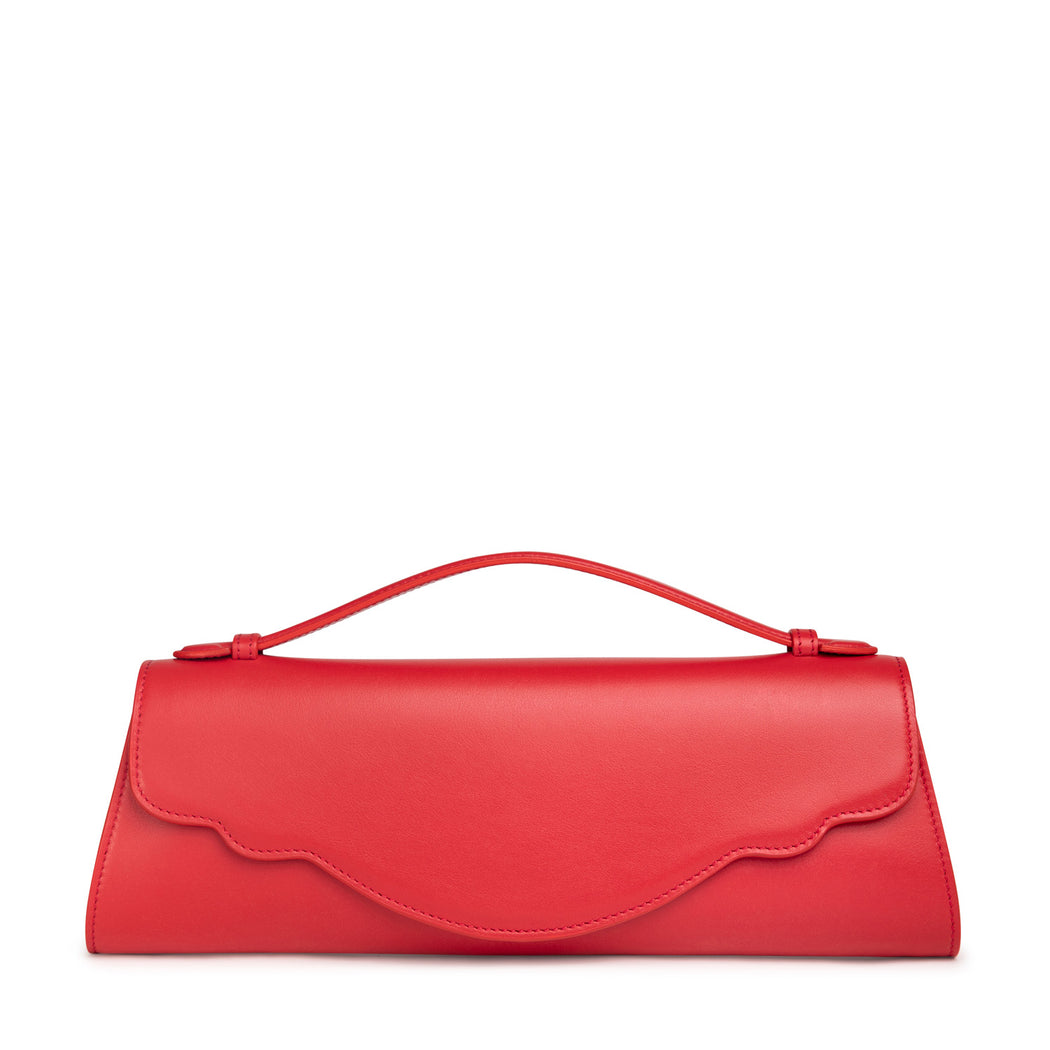 Audrey Evening Clutch: Red Calfskin with Gold Fittings