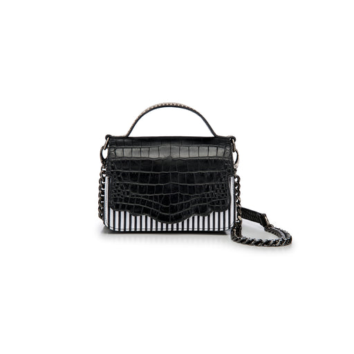 The double-sided Audreyette Mini in black and white striped canvas with black embossed croc and black and white elaphe is a luxury handbag for every day. It's the same petite bag as the original Audreyette Mini, but with double the space. A designer crossbody bag that fits all the essentials. Can be worn as a crossbody or the strap can be doubled and worn on the shoulder. Elaphe top handle adds an extra dimension of texture.
