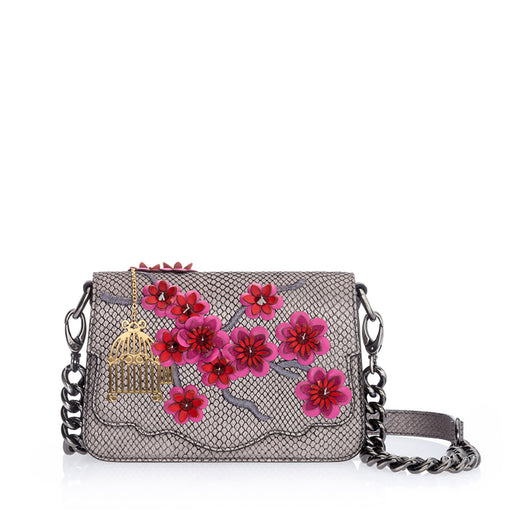 Audreyette Mini: Designer Crossbody in Silver