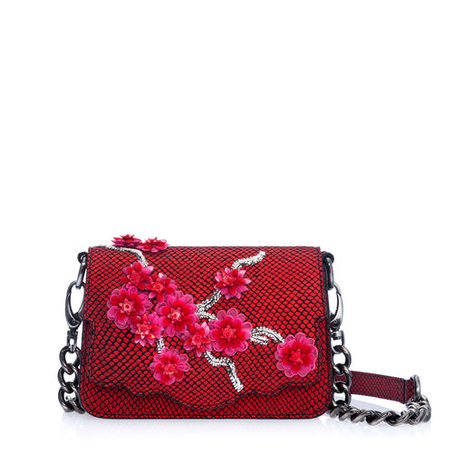 Audreyette Mini: Designer Crossbody in Red