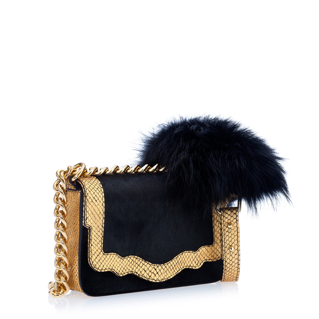 Audreyette Mini Novelty: Designer Crossbody in Black and Gold