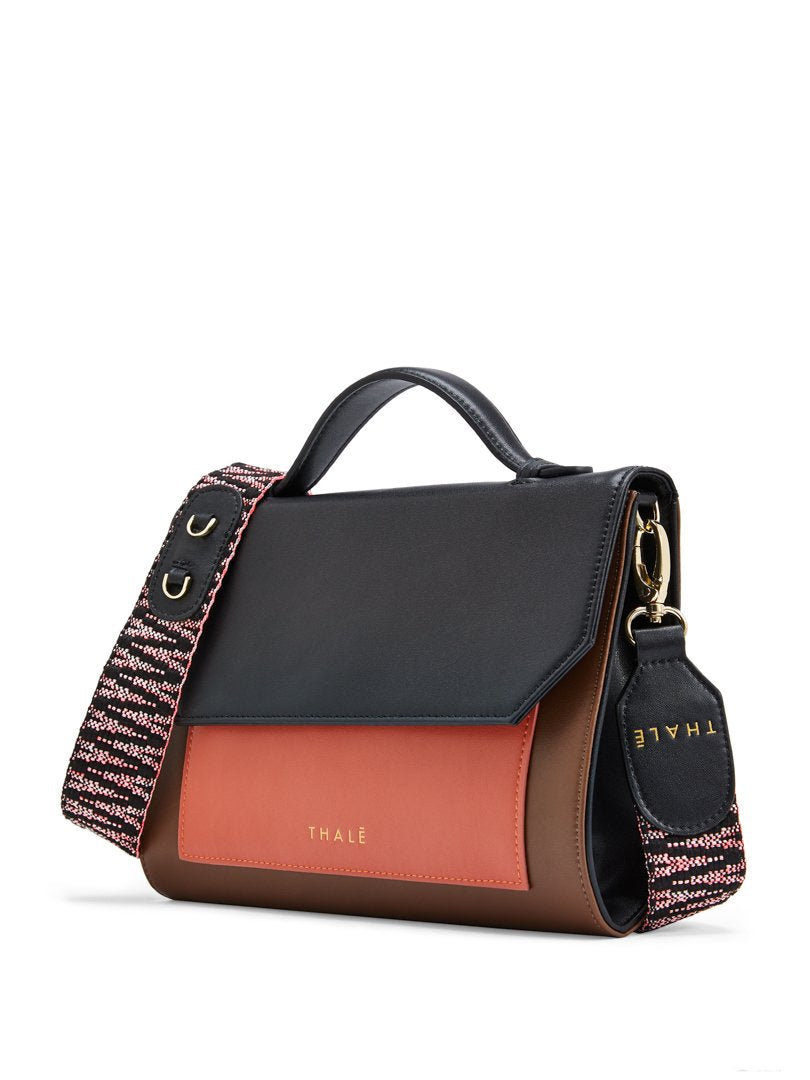 Luxury crossbody bag: Designer clutch bag, leather in black, brown, coral