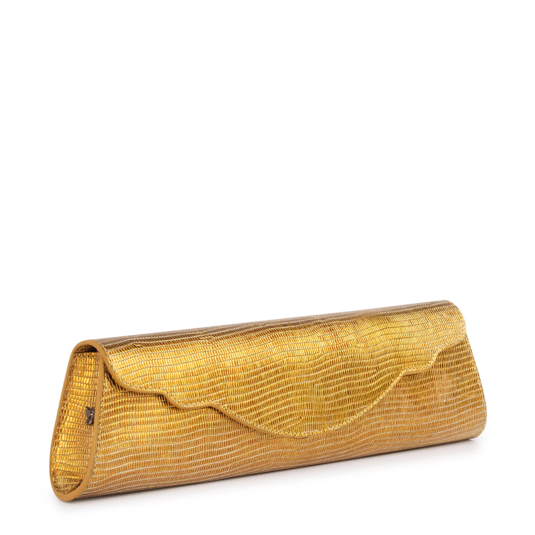 Designer evening clutch bag in metallic gold leather