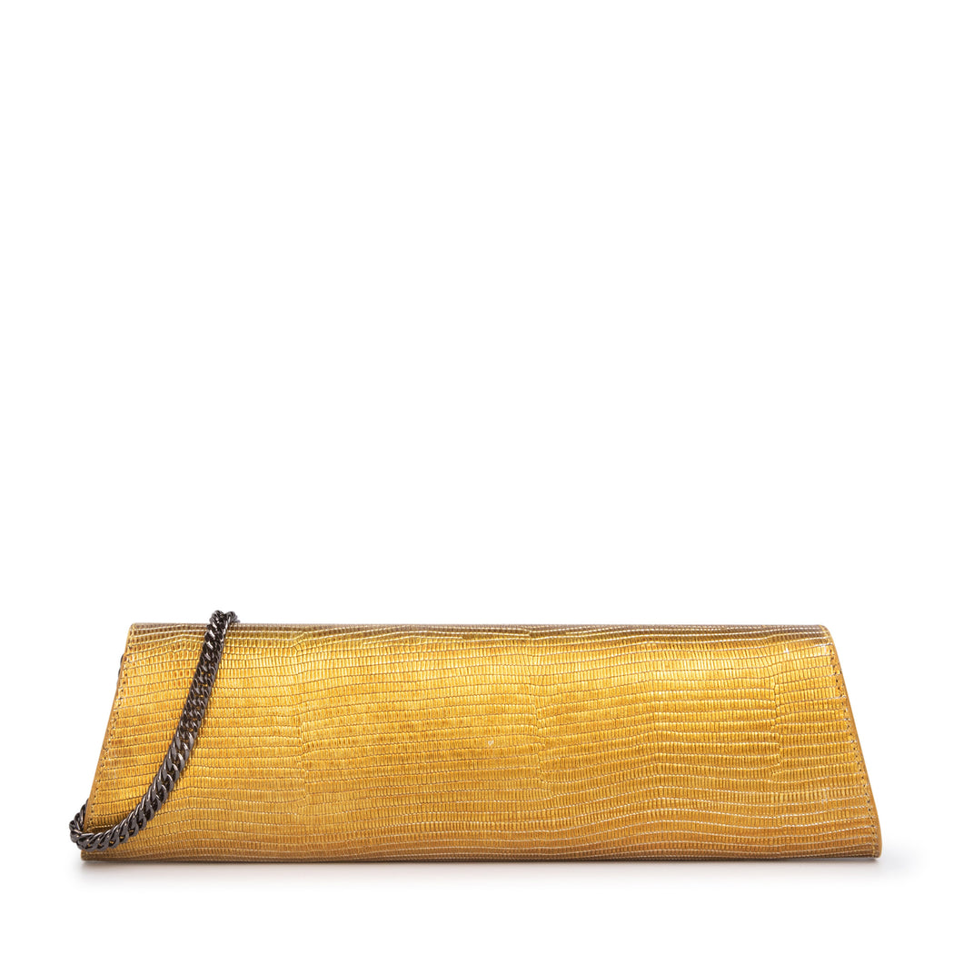 Designer gold clutch in embossed leather with chain strap