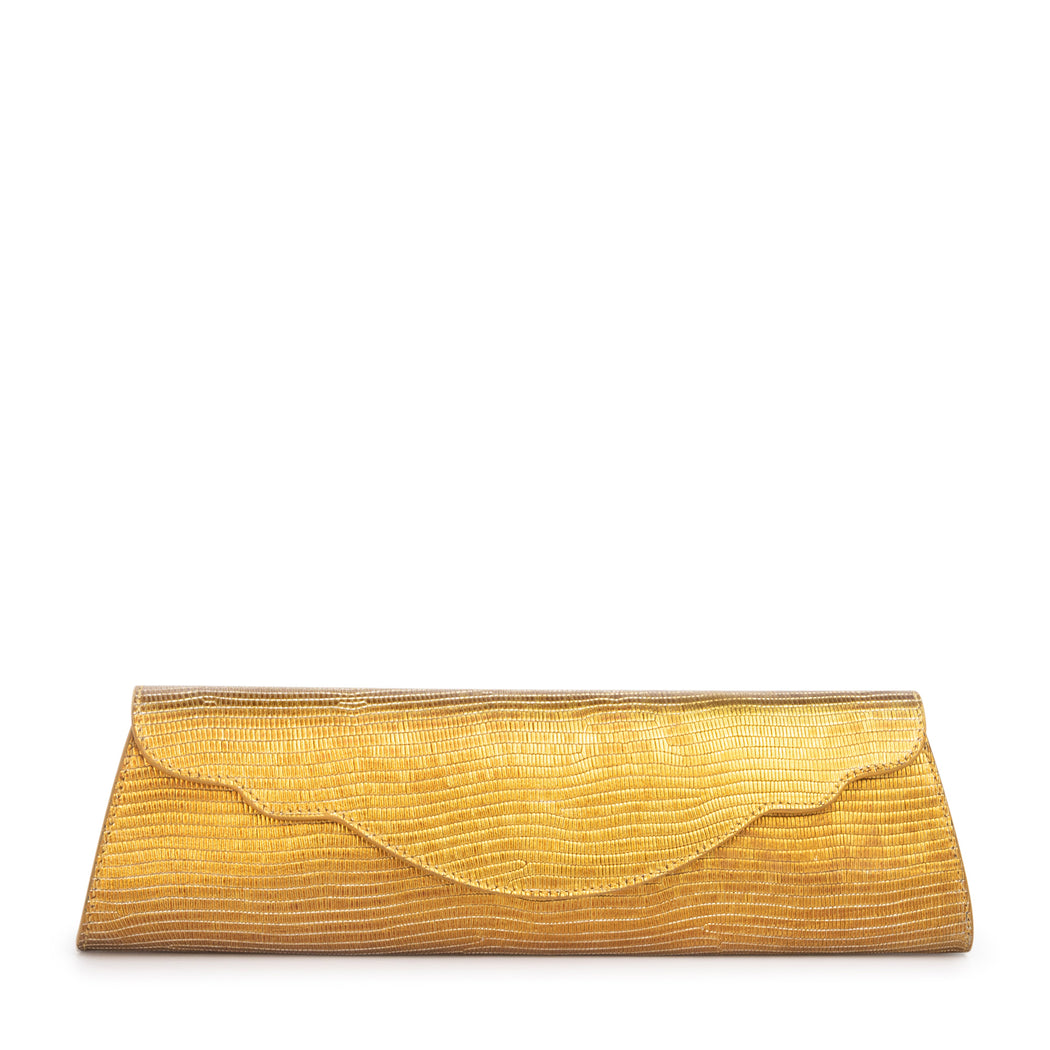 Gold designer clutch bag for evening