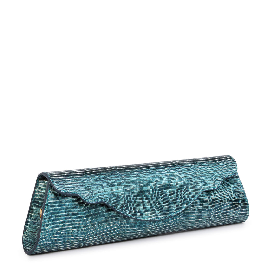 Women's designer evening clutch in teal leather with embossed print