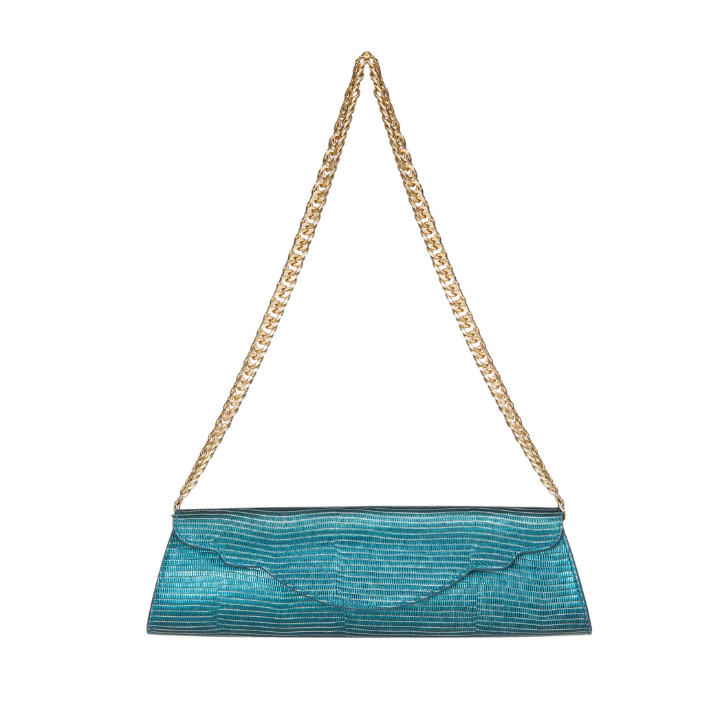 Designer evening purse in teal leather with gold chain strap