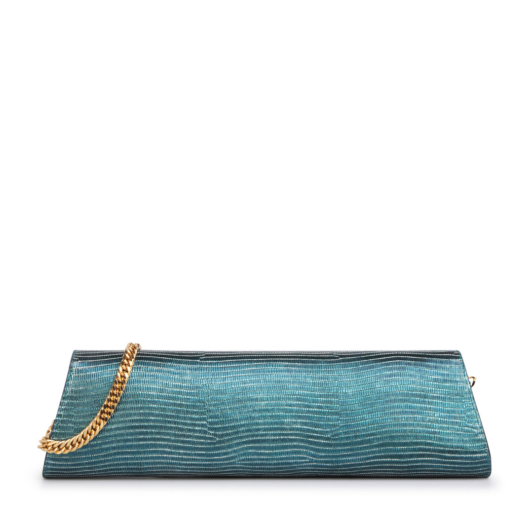 Clutch bag for women: Designer evening bag in teal leather with gold chain strap