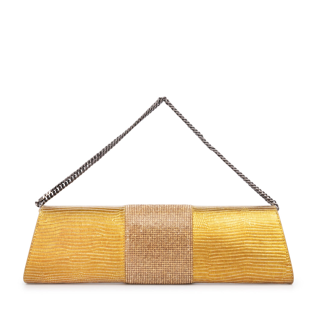 Designer clutch bag: Gold evening bag with crystal panel