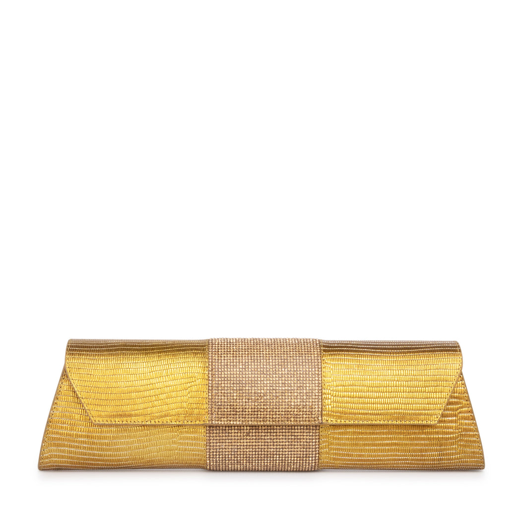 Designer gold evening clutch bag with crystal panel
