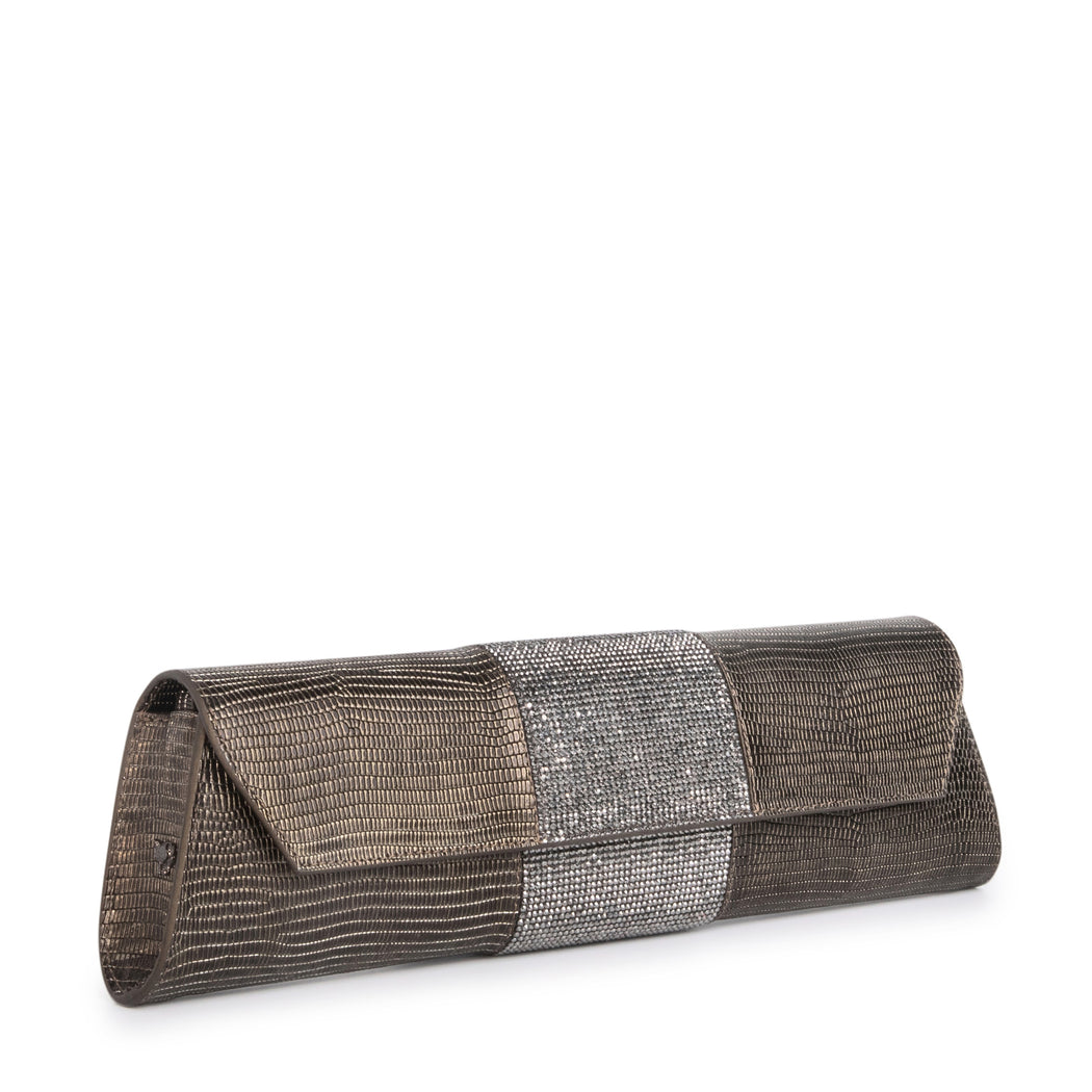 Designer clutch bag for women: Lizard-embossed gunmetal leather with crystals