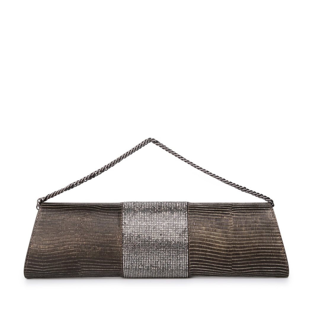 Gunmetal designer evening clutch bag, leather: Lizard embossed with crystals