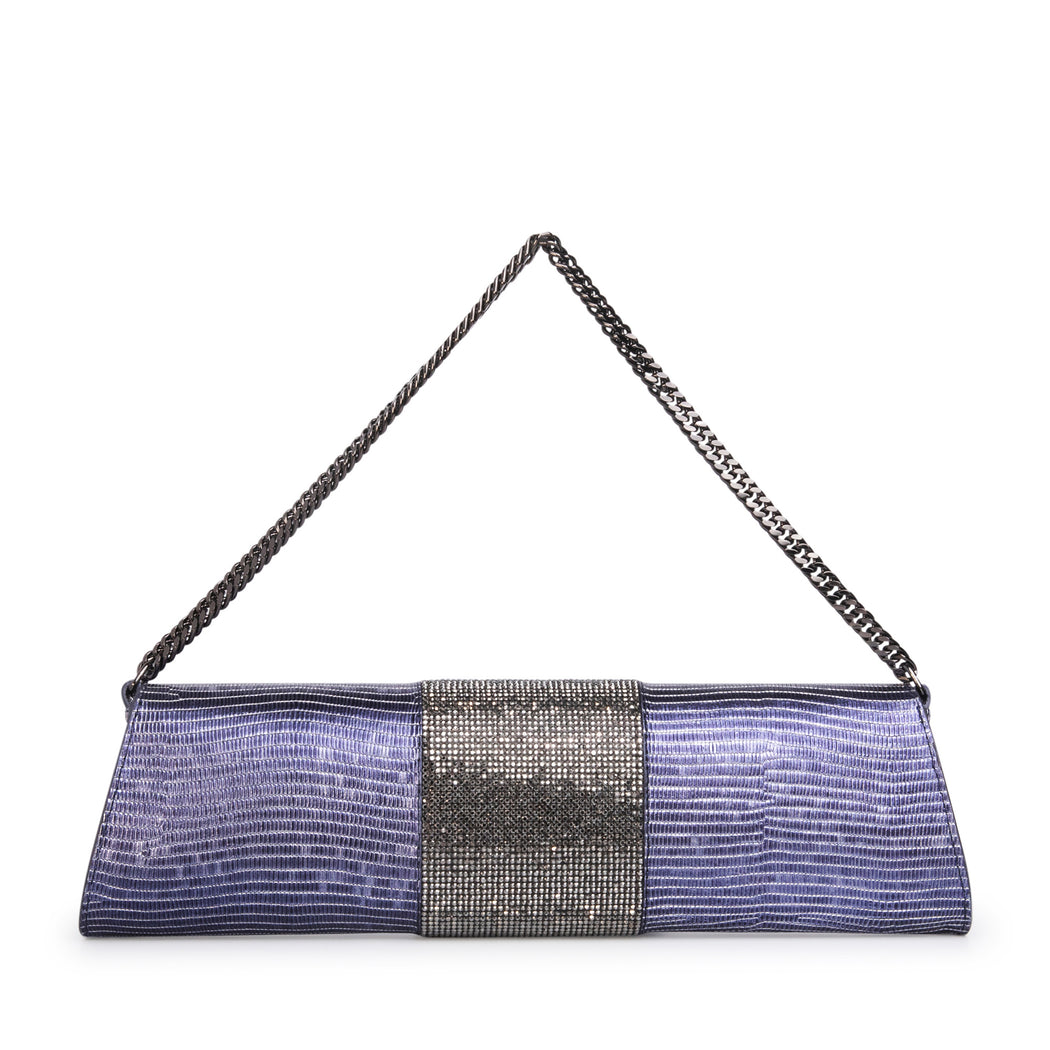 Designer evening purse in blue leather with crystals & chain strap