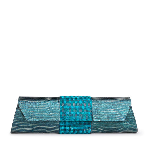 Teal designer clutch bag: Leather embossed with lizard print