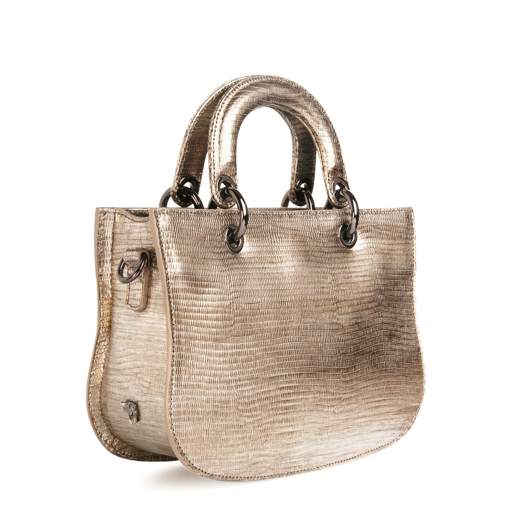 Designer crossbody bag in lizard-embossed silver leather