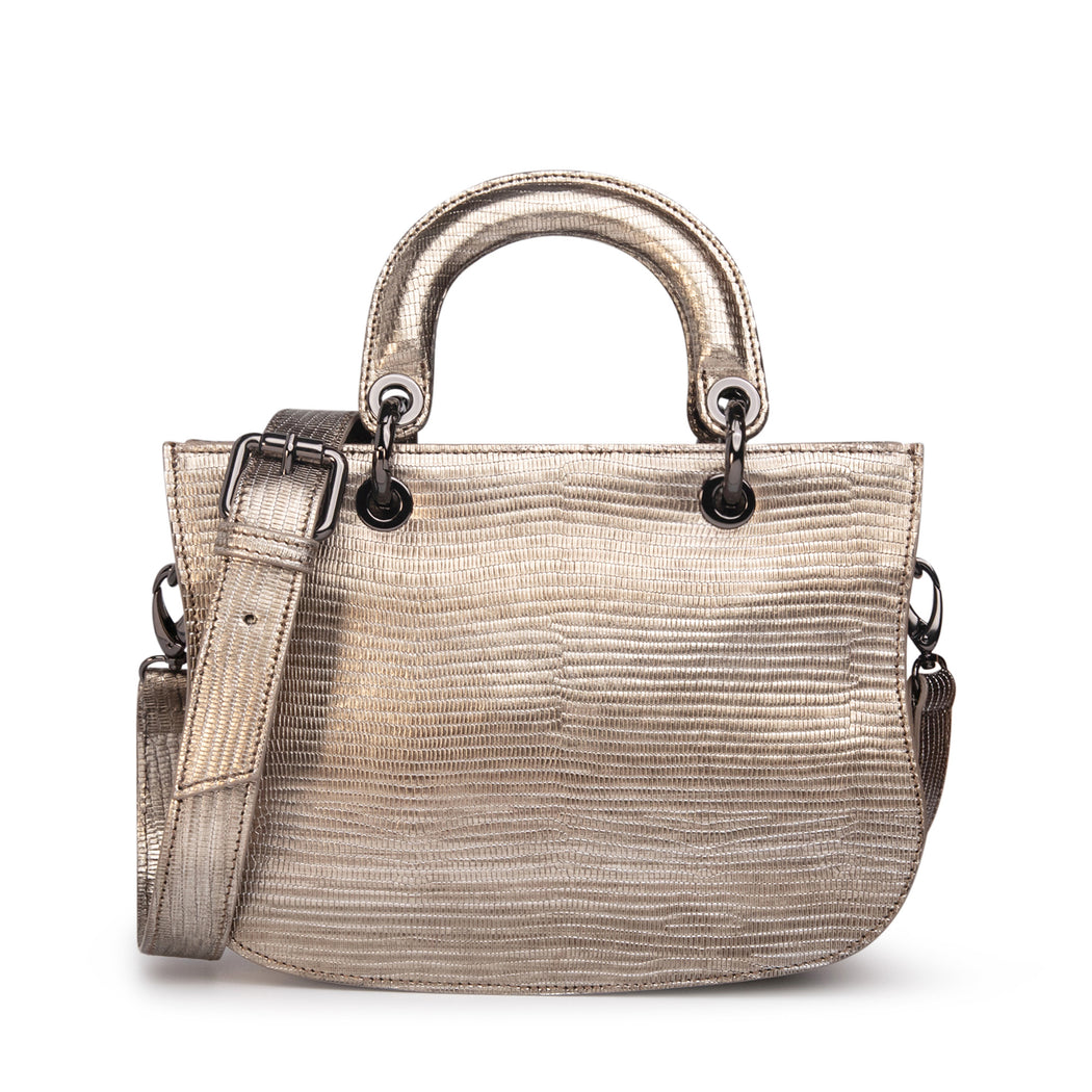 Women's designer satchel handbag in metallic silver leather, lizard-embossed
