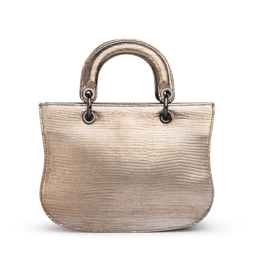 Women's designer satchel in metallic lizard-embossed silver leather