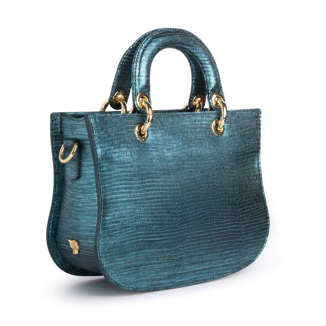 Designer crossbody bag in metallic teal lizard-embossed leather