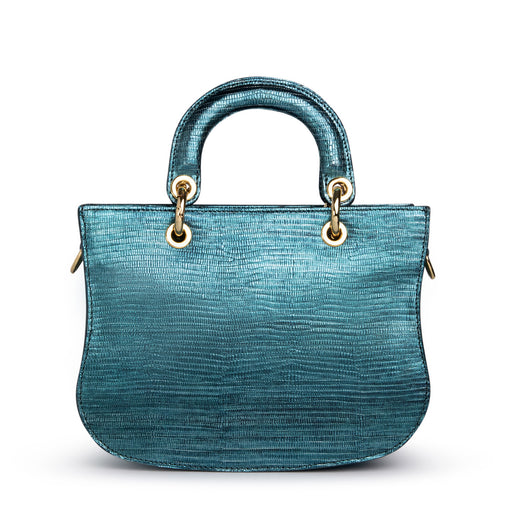 Designer satchel in metallic teal leather, lizard-embosssed