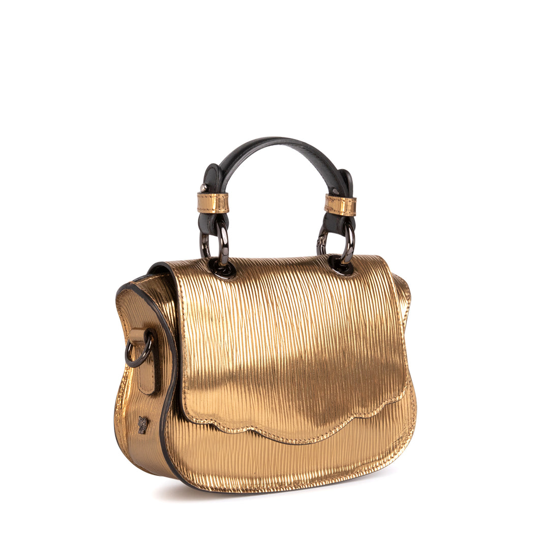 Women's designer crossbody bag: Gold metallic handbag