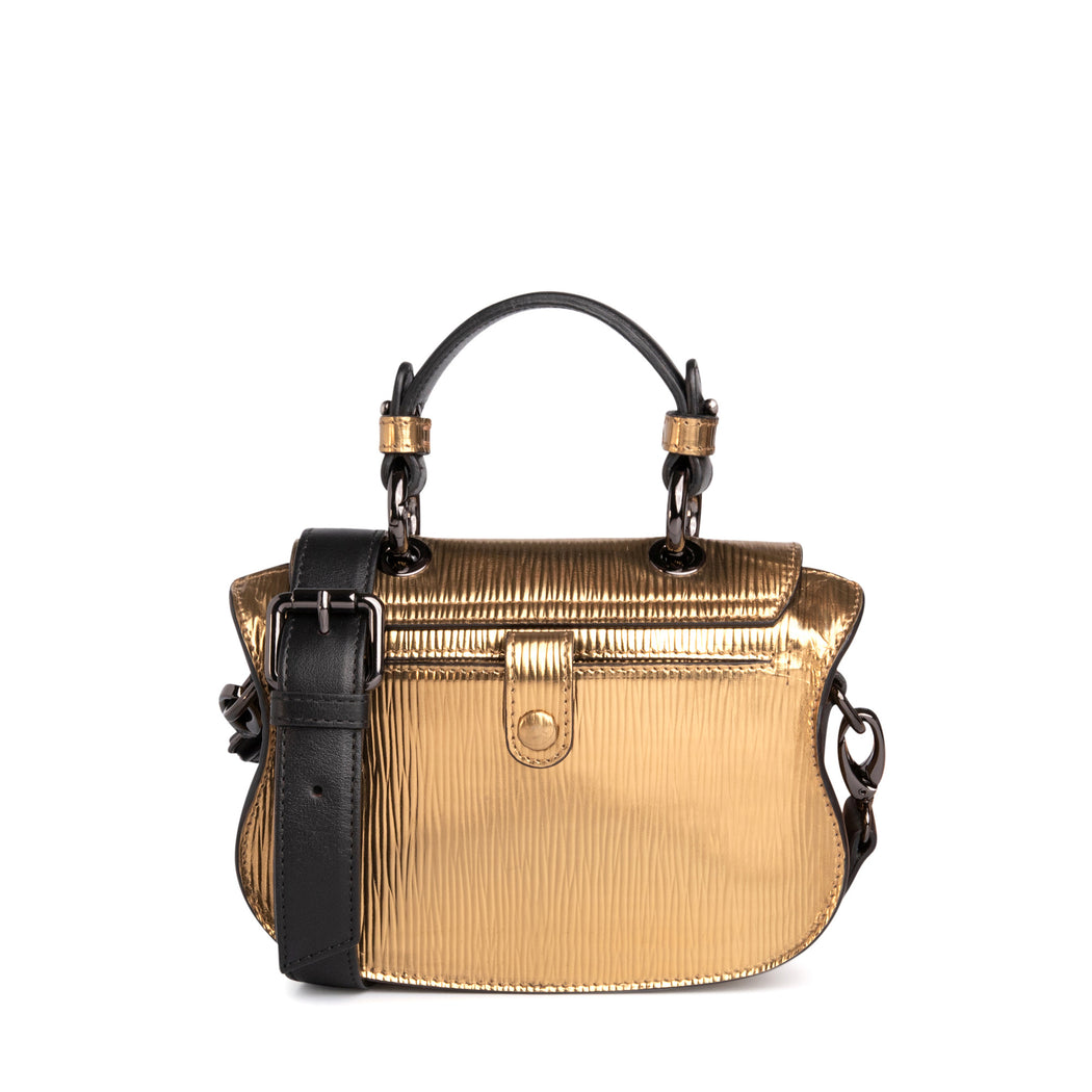 Luxury crossbody bag, mini: Gold metallic handbag