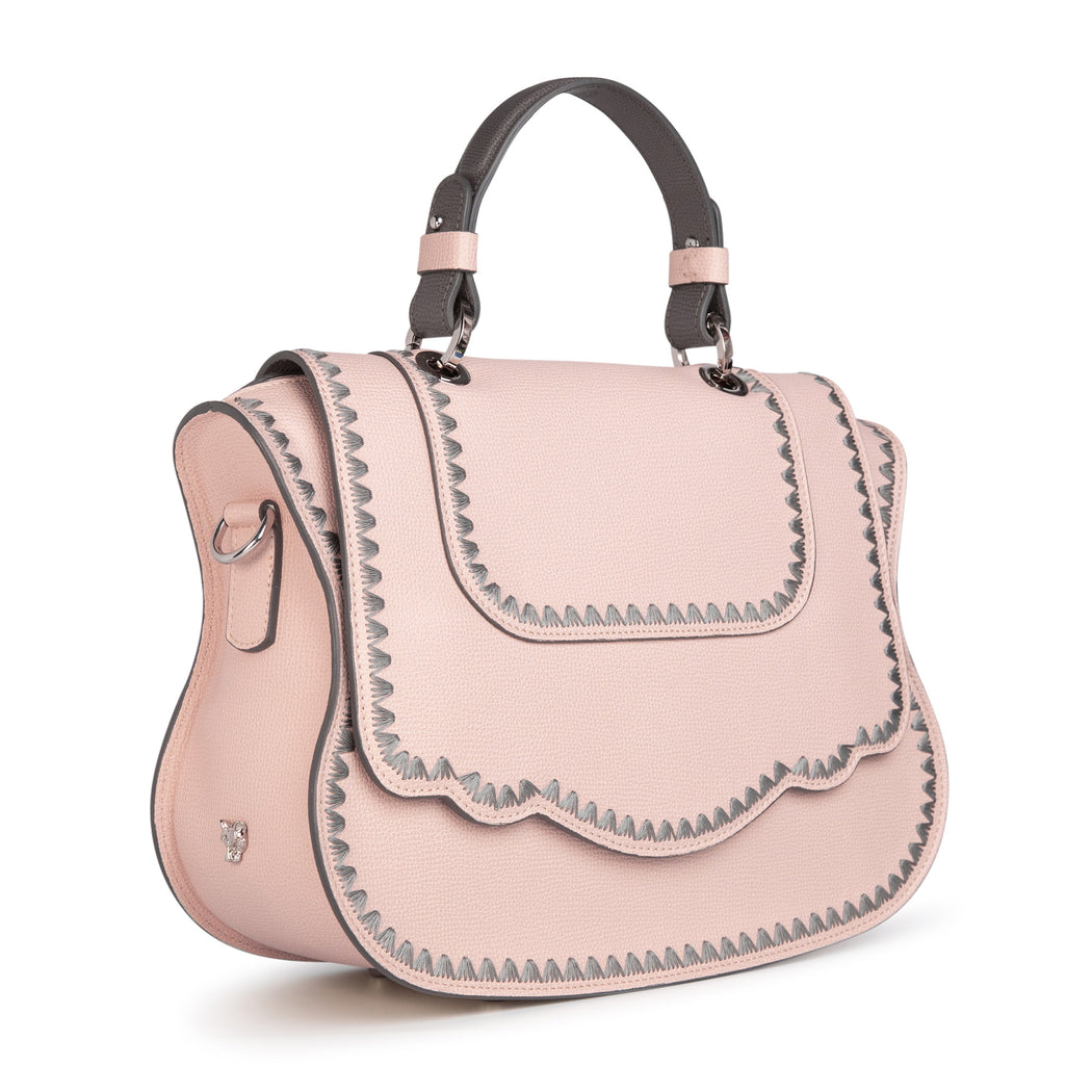 Luxury handbag: Designer satchel purse in pink leather