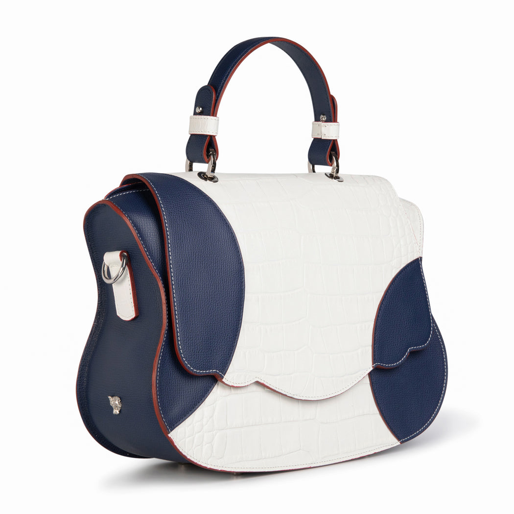 Designer satchel handbag in white-navy croc-embossed leather