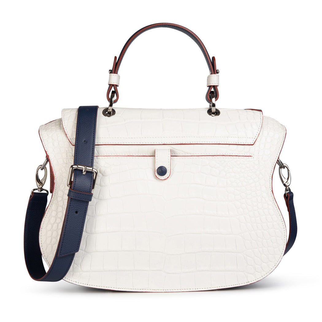 Womens designer handbag: White-navy designer satchel purse