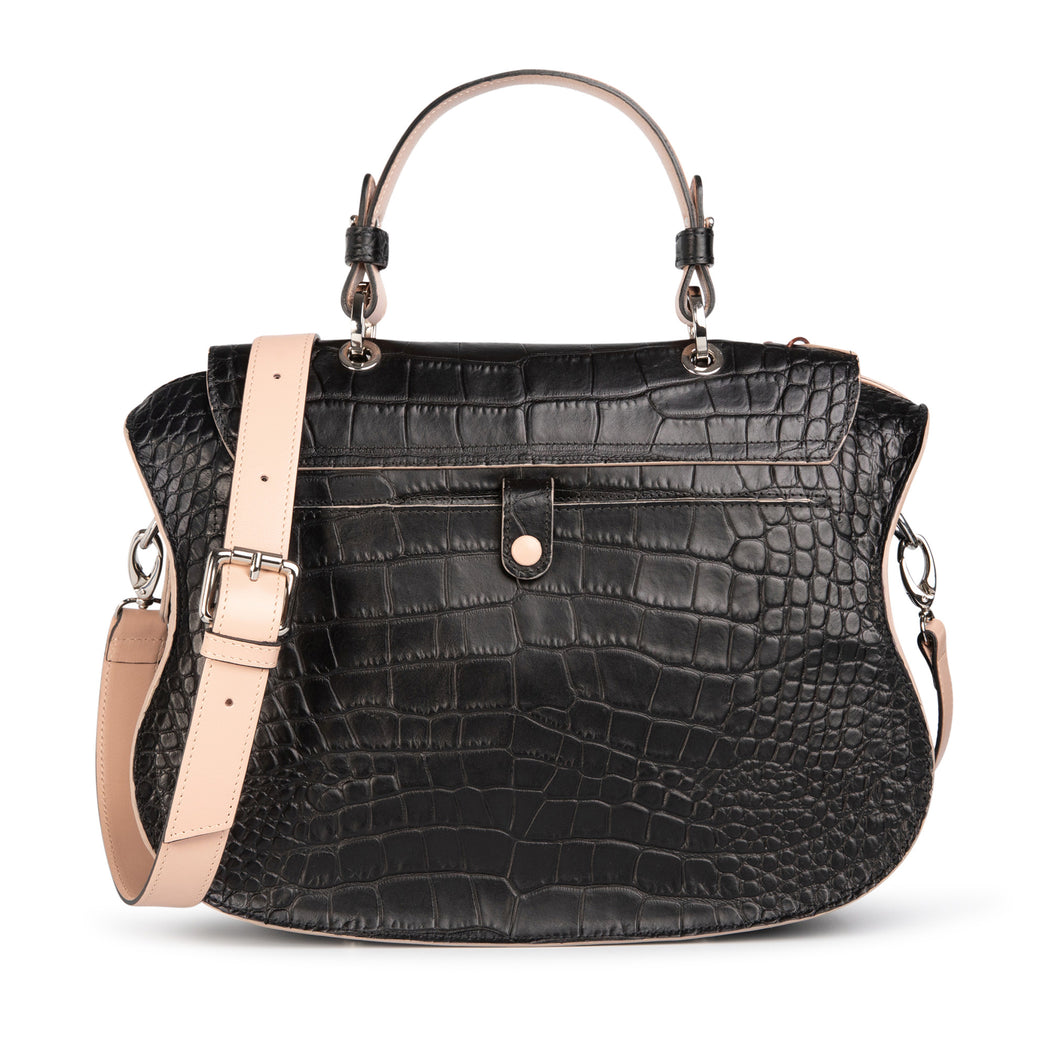 Audrey handbag: Designer satchel purse in black leather with white accents.