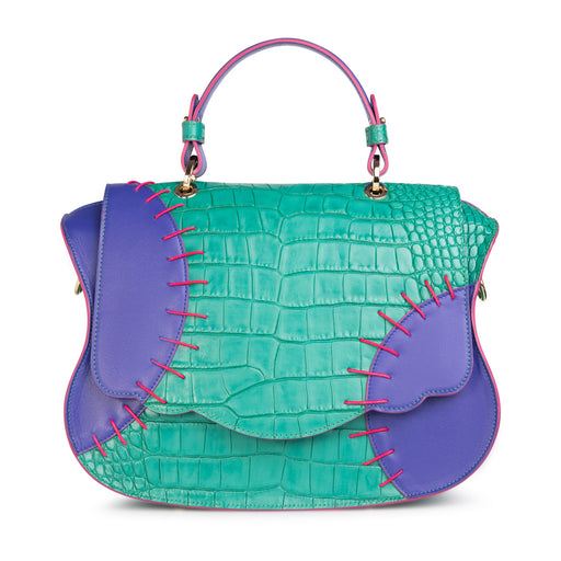 Women's designer handbag: Designer satchel in green-blue leather