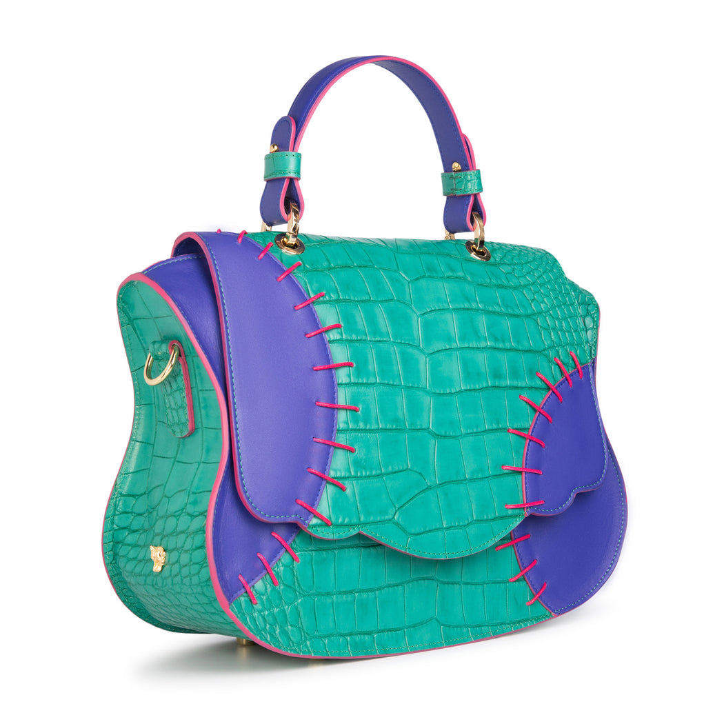 Designer satchel handbag in green-blue croc-embossed leather